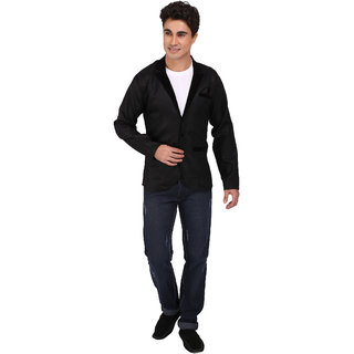 JMV Black Jute Blazer For Men