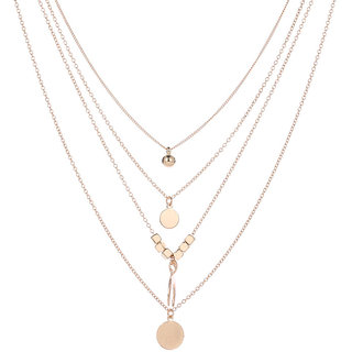 Gold Plated Layered Gold Alloy Necklace For Women