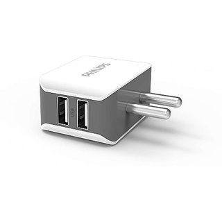 Philips 2502+2528m 2.1 A Multiport Mobile Charger with Detachable Cable  White, Grey  Adapters   Chargers