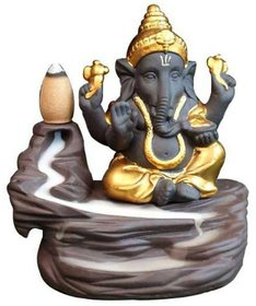 Ganesha Smoke Fountain Incense Burner/Fountain Statue with Free 10 Back Flow Incense Cones