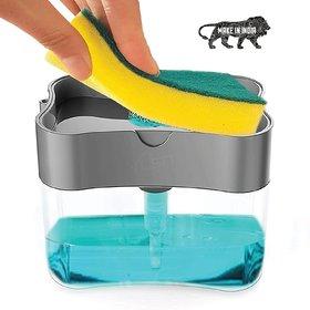 2 in 1 Soap Pump Plastic Dispenser and Sponge Holder for Kitchen Sink Dish Washing Soap Dispenser (MADE IN INDIA)