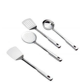 Premium Stainless Steel Kitchen Tools Set for Cooking, Set of 4, 35 cm Length, Silver (Made in India)