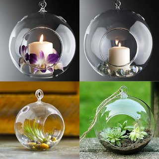 MAGICMOON HANGING PLANTER CRYSTAL GLASS , TEA LIGHT CANDLE HOLDER FOR HOME OR INDOOR GARDEN - SET OF 2 , TRANSPARENT