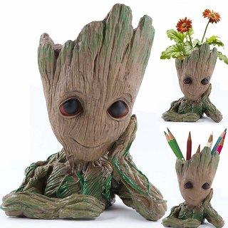Cute Baby Groot Model Action Figure PVC Pen Stand Cum Flower Pot Planter