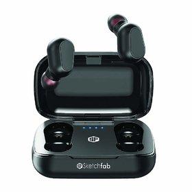 Sketchfab TWS Bassbuds in Ear True Wireless Earbuds Bluetooth Headphone 5.0, Hi-Fi Sound Charging Box Black
