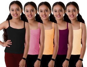 Suruthi Girl's Cotton Camisole / Slips (Multicolour, Pack of 5)