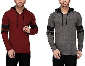Combo of 2 Stylatract Multicolor Hooded T-Shirts For Men (0216)