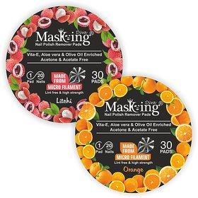 Nail Polish remover Pack Of-2 -Litchi + Orange