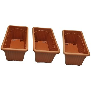 OSM ENTERPRISES Plastic Rectangle Pot (13-inch, Brown, Pack of 3)
