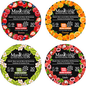Berries, Orange, Litchi, Night Blooming Nail Polish Remover Pads Combo Pack of 4
