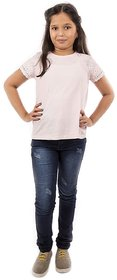 100 Cotton T-Shirt for Kids Girl, Summer Baby Cloths, Pink Girl Kids T-Shirt
