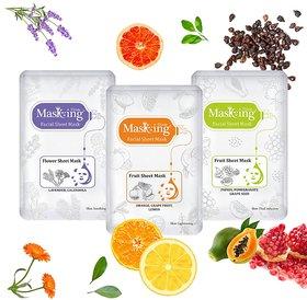 MasKing Lavender, Orange Papaya Facial Sheet Mask Pack Of-3