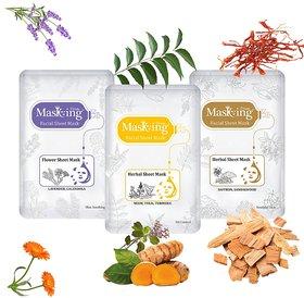 MasKing Lavender, Neem, Saffron Facial Sheet Mask Pack Of-3