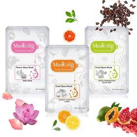 MasKing Rose, Orange, Papaya Facial Sheet Mask Pack Of-3
