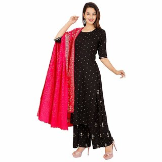 Rayon Design Black with Golden Dot A-line Kurta Palazzo With Dupatta