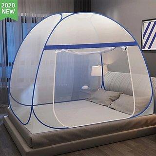 MouliK Mosquito Net for Size King/Double Bed Foldable Machhardani (Double Bad-200  200  145, Blue)
