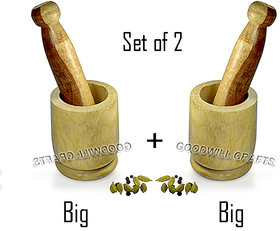 GOODWILL CRAFTS  Wooden Okhli and Musal/Mortar and Pestle Set OF 2