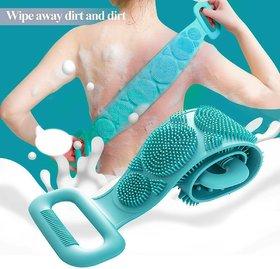 Dual Sided Silicone Shower Bath Belt Back Scrubber Brush and Massager Foot/Sole Cleaner Shower Bath Belt (Multicolor)