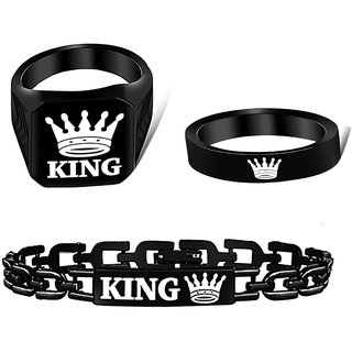 Alanswiss Stylish Black Crown Rings Combo With King Bracelet For Boys