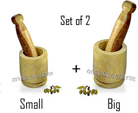 GOODWILL CRAFTS Wooden Okhli and Musal/Mortar and Pestle Set OF 2 BIG AND SMALL