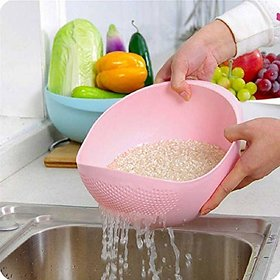 Plastic Rice Bowl Strainer, Washing Bowl for Fruits, Vegetables, Noodles, Pulses, Cereal, Rice (Color May Vary)