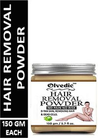 Olvedic Hair Removal Powder Three in one Use For Powder D-Tan Skin, Removing Hair  Remove Dead cell For easy Remove Hai