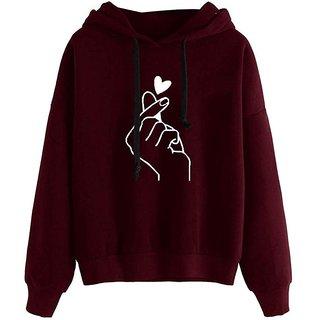 Raabta Maroon Hand Print Sweatshirt for Women