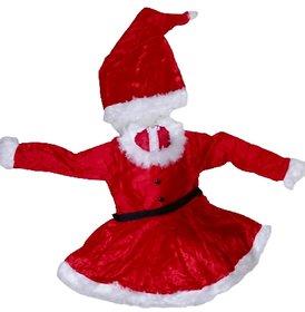 Santa Claus Girl Red Color Christmas Festival Theme Fancy Dress Costume For Kids
