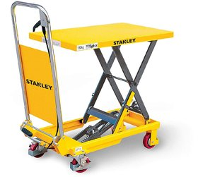 Stanley Hydraulic mobile Table Lifter, Scissor Lift Table Trolley with Lockable rear casters, and proportional lowering,