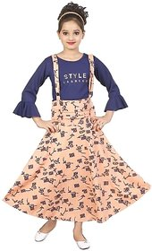 Full Length Casual Dungree Dress  For Girls