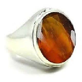 Hessonite Stone 3 Ratti 100 Certified Silver Ring By Ratan Bazaar