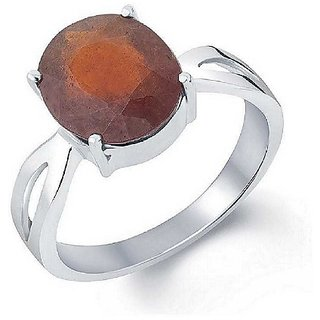 Natural Hessonite Stone 4 Ratti 100 Certified Silver Ring By Ratan Bazaar