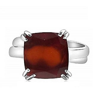 Hessonite Ring 4 Carat natural and Eligent Stone Silver Ring by ratan bazaar