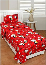 Z decor 1 polycotton single bedsheet with 1 pillow cover (size-60x90inch)