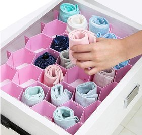 House of Quirk Honeycomb Closet Organizer Drawer Divider for Underwear Bras Socks Ties Scarves - Multicolor