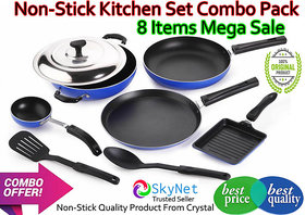 Crystal Eco Series Cookware Set  (PTFE (Non-stick), 8 - Piece) combo offer sale pack of 8 kitchenware