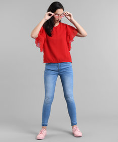 code yellow Women Red Ruffle Sleeve Neck Button Top