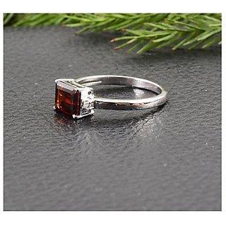 3.5 Carat 100 Original Certified Stone Hessonite silver Ring By CEYLONMINE