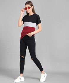 Elizy Women Black Grey Maroon Colour Block Hosery T-shirt
