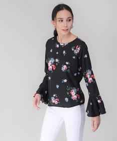 Elizy Women Black Base Pink Floral Printed Bell Sleeve Top