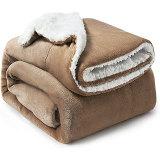 BSB HOME Polyester Micromink Warm Sherpa Super Soft Flannel Solid/Plain Blanket for Winter, Sky Blue, Size 150X225 Cms