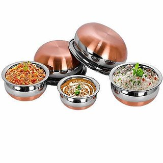 Vishal Enterprise Stainless Steel with Copper Bottom Cooking  Serving Pot(Handies) Combo with flat base -  5 pcs set