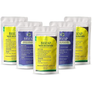 Biozap Waste Decomposer  Odour Remover (3+2)Compost Maker Combo  Odorless Composting  Accelerates Composting Manure