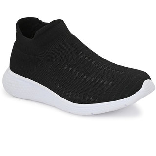 EL PASO Women's Black Knitted Upper Running Sports Shoes