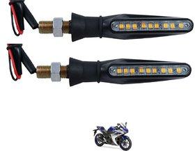Auto Addict Bike Side Indicator Front  Rear Side Sleek Yellow Indicator Light bulbs Set Of 4 Pcs For Yamaha YZF R3