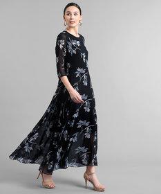 Elizy Women Black Base White Floral Printed Georgette Maxi Dress