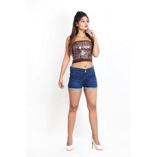Women's Regular Length Mid Rise Denim Shorts