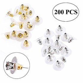 DIY Crafts 200 Pcs Earring Safety Backs with 2 Storage Boxes, Ear Nut Hypoallergenic (100 Silver and 100 Golden)