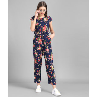 Elizy Women Nevy Blue Flower Printed Front Knot Jumpsuits