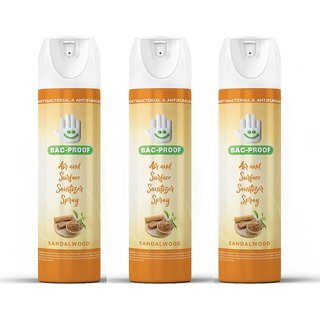 BAC-PROOF AIR AND SURFACE SPRAY SANITIZER WITH SANDALWOOD FRAGRANCE (PACK OF 3)